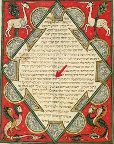 Grotesques, illustration from the Jewish Cervera Bible, 1299 #Tetragrammaton…