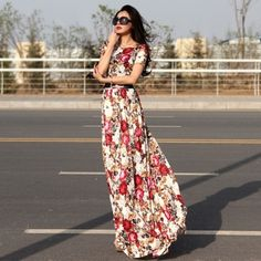Elegant ladies vintage floral maxi dress Sizes S  - XXl. | Ladies Summer #Fashion