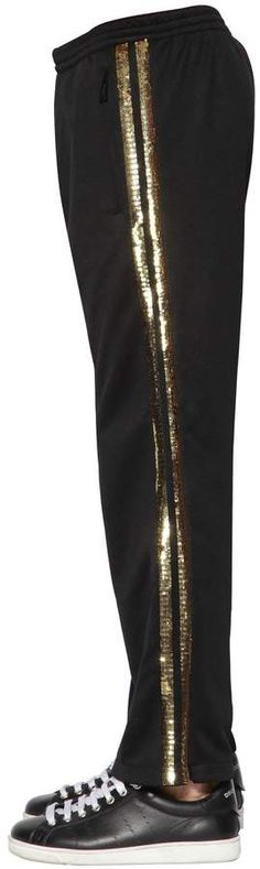 Sequined tech sweatpants, Black/gold, Luisaviaroma - Elastic waistband with drawstring . Mens Athletic Pants, Dsquared2, Tech, Sweatpants, Gold, Black, Black People, Technology, Yellow