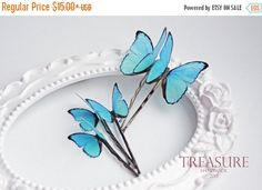 SALE Blue butterfly hair pin, blue butterfly hair jewelry, handmade butterfly, exotic butterfly, bridal jewelry, wedding jewelry, gift for h