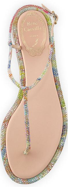 Rene Caovilla Pop Beaded Flat Thong Sandal, Multi