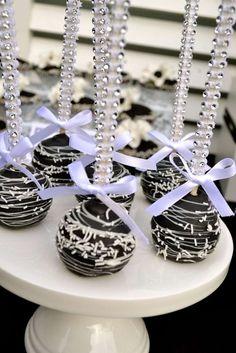 Elegant Rhinestone Encrusted Swirly Cake Pops