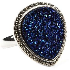 Judith Jack Ring, Marcasite And Blue Drusy Ring (14-3/8 Ct. T.W ❤ liked on Polyvore featuring jewelry, rings, accessories, marcasite ring, drusy jewelry, blue jewelry, marcasite jewelry and druzy jewelry