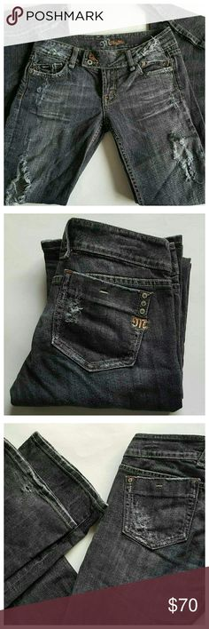Miss Me Black Distressed Style Bootcut Jeans Miss Me jeans, size 28. Color: Jet Highland. Style: JP412782. Distressed/destroyed look with fraying & holes. 5 pocket style, zip fly, belt loops, 2 button waist. Rhinestone ?M? on back pocket and all buttons have ?Miss Me? engraved. Laying flat measurements: 30? Waist, 36? Hips, 8? Front Rise, 33? Inseam, 19? Leg openings. Overall very good condition, minor wear on lower buttocks and missing interior waist button. 98% Cotton/2% Polyurethane. Miss…
