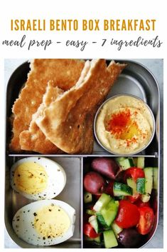 This HEALTHY Israeli bento box is a nutritious and filling meal made with just 7 ingredients. This and simple meal is the perfect meal prep breakfast or lunch for both kids and adults. Try it out today! Healthy Brunch, Healthy Breakfast Recipes, Brunch Recipes, Healthy Recipes, Meal Prep Plans, Easy Meal Prep, Easy Meals, Healthy Meals For Kids, Healthy Food