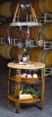 Kitchen Island Made From A Reclaimed Wine Barrel