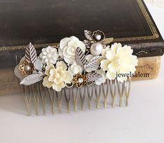 Hochzeit  Haar  Kamm  Braut Kopfstück  Silber  weiß  von Jewelsalem