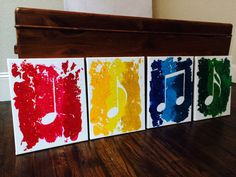 Beautiful 4 Piece Music Notes Made From Melted by RockYourWalls, $200.00 Check it out on Etsy!  Bright and colorful! These music notes are on 4 11x14 canvases. Together, it is 22x28.   This piece was made out of shaved crayola crayons in multiple colors. Perfect for the music loving home/office! Looks great hung side by side or on top of each other.  If you would like one made on bigger canvases or in different colors, let me know!