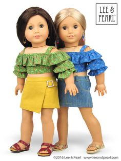 """Introducing the Lee & Pearl 2016 FREE Pattern for mailing list subscribers — #1035: Olá Brasil! Samba Top, Bahia Dress, Headwrap and Jewelry Tutorials for 18"""" Dolls. Our American Girl dolls love wearing their bright, frilly Samba Tops with skirts from Lee & Pearl Pattern #1041: Slim Skirts for 18"""" Dolls. To get your FREE copy of Olá Brasil, join our mailing list at http://www.leeandpearl.com. To get the Slim Skirts pattern, visit our Etsy store at https://www.etsy.com/shop/leeandpearl"""