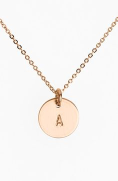 Nashelle+14k-Rose+Gold+Fill+Initial+Mini+Disc+Necklace+available+at+#Nordstrom