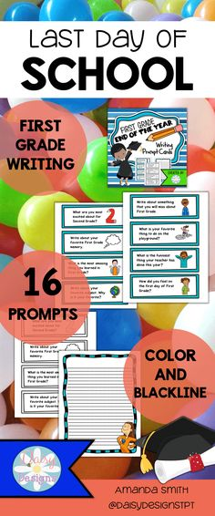 End the year with these first grade writing prompt task cards. This set is filled with reflective questions and even includes writing paper. Are your students excited for second grade?