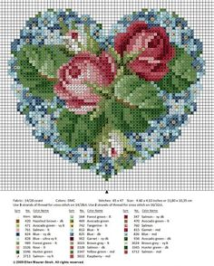 Roses in my Heart (free cross stitch chart). Presumably you could use this for beadwork? Free Cross Stitch Charts, Cross Stitch Heart, Cross Stitch Flowers, Counted Cross Stitch Patterns, Cross Stitch Designs, Cross Stitch Embroidery, Diy Broderie, Bordados E Cia, Le Point