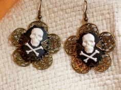Skull Flower Earrings by ShamamasTreasures on Etsy