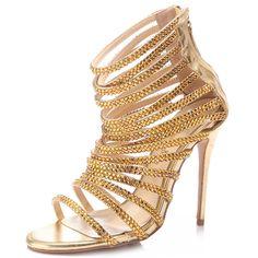 Shoespie Rhinestone Open Toe High-Cut Upper Sandals
