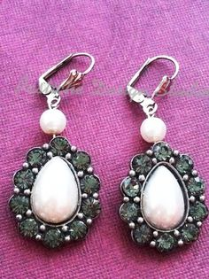 White Pearl and gray crystal drop earrings, Vintage Inspired on Etsy, $30.00