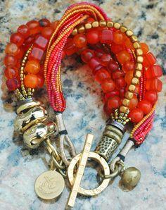 Custom Exotic Orange Glass, Bronze and Gold Multi-Strand Bracelet