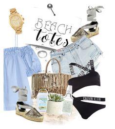 """How I wear my beach bag."" by shehasnoworries ❤ liked on Polyvore featuring H&M, Oscar de la Renta, Sensi Studio, Organix, Calvin Klein, Drybar, Allstate Floral, Michael Kors and beachtotes"