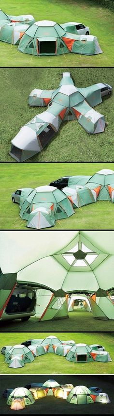 ...now this is camping in style.  Do you think the KOA would believe you if you said it was one tent???