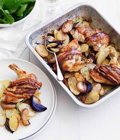 Australian Gourmet Traveller fast recipe for cider-roasted chicken with speck, apple and potato.