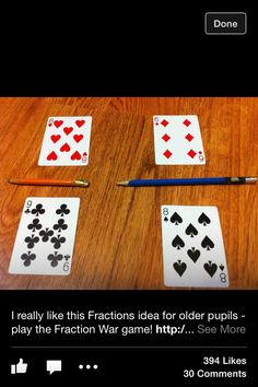 A Fractions War game would be a fun way for students to play War and apply their knowledge of fractions.