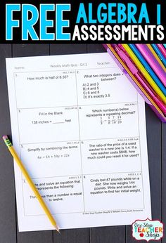 Free Math Assessments or Quizzes for Algebra 1. These Algebra 1 Quizzes are aligned with the common core math standards. These Algebra 1 assessments can also be used as quick checks, spiral math review, and progress monitoring.