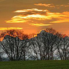 Today's sunset over the trees behind Germany For Kids, Schloss Leizen. #sunset #sundown #crepuscule #Sonnenuntergang