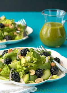 Baby Bok Choy, Butter Lettuce & Blackberry Salad w/ Avocado & Basil-Honey-Ginger Vinaigrette