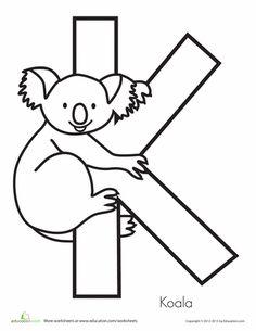 Worksheets: K is for Koala