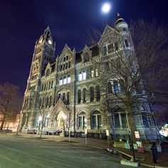 Old City Hall, Richmond Virginia -- located downtown Richmond, VA. Completed in 1894, this Victorian Gothic Style building served as the Richmond City Hall until the early 1970s. The the full moon adds an extra creepy look to this RVA landmark.