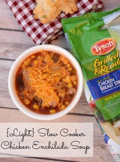 Light ; Easy Slow Cooker Chicken Enchilada Soup# slow cooker healthy recipes