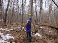 Hikers along trail in Fliegel Farm Woods, Ashford CT