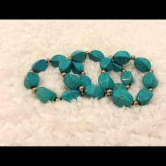 Turquoise elastic 3 piece bracelets. Turquoise bracelets purchased at a boutique in the hill country of Texas. Never been worn. Jewelry Bracelets