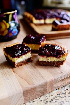 Blackberry Cheesecake Squares. Creamy, fruity, and divine. (And portable!)
