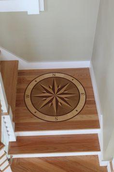 Wood compass rose floor inlay