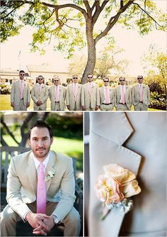 pink and tan groomsman ideas