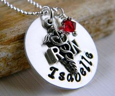Personalized RN Necklace Nurse Necklace by RosesDesigns on Etsy