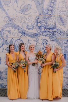 How beautiful are these long yellow bridesmaids gowns! A unique colour that really makes a statement. Yellow Bridesmaid Dresses, Wedding Dresses, Flawless Beauty, Black Decor, Amazing Architecture, Unique Colors, How Beautiful, Wedding Styles, Wedding Venues