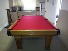 BCE Churchill light oak snooker pocket table recently recovered in bright red pool cloth