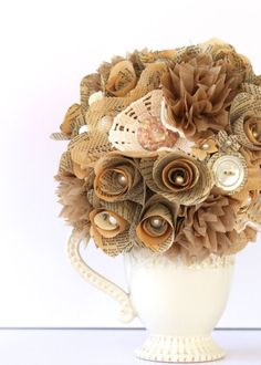 etsygoodies:  (via VINTAGE BUTTON and PEARL Centerpiece /// Book Roses by HiButterfly)