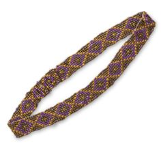 Yellow, Gold and Purple Diamond Pattern Stretch Fashion Headband