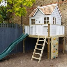 Children's cottage | play centre | wooden climbing frame platform playhouse