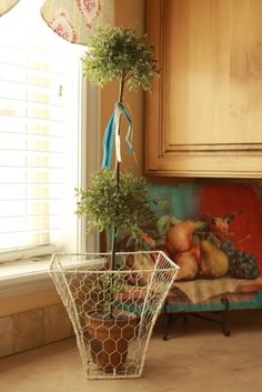 Make chicken wire basket out of old lampshade