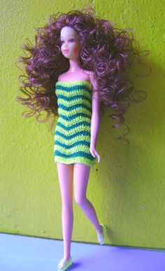 Rerooted Francie doll in striped crochet dress