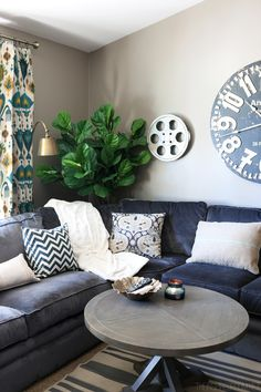 Navy Sectional..& those curtains! | The Inspired Room