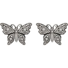 Gucci Crystal Studded Butterfly Earrings ($565) ❤ liked on Polyvore featuring jewelry, earrings, fashion jewellery, for women, jewellery & watches, metal jewelry, metal earrings, chain jewelry, gucci and crystal stud earrings