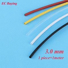 1 m/unids 3mm Tubería Encogible Wire Wrap Termorretráctil Tube 2:1 Termo Aislamiento Chaqueta Matierial Negro Blanco Amarillo Claro rojo