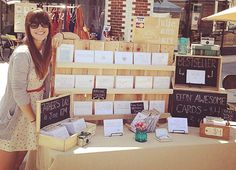 Craft show display ideas :: Don't be afraid to build. Love this simple display made just for her products.