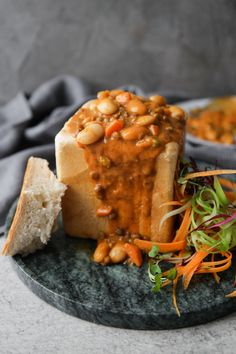Bunny Chow is an absolute classic of South African cuisine. Here's a delicious version, made with lentils & beans. Lentils are one of the key ingredients in foward-thinking Future 50 Report. Recipe by Claire Winstanley. Avocado Egg Recipes, Veg Recipes, Curry Recipes, Cooking Recipes, Easy Vegetarian Curry, Quick Vegetarian Meals, Healthy Meals, South African Dishes, South African Recipes