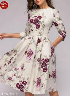 Color: White Size: S M L Xl Material: Polyester Collar_&_neckline: Round Neck Sleeve_length: Three Quarter Sleeve Pattern_type: Print Length: Midi How_to_wash: Cold Hand Wash Supplementary_matters: All Dimensions Are Measured Manually With A Deviation Of 2 To 4cm. Occasion: Date Dress_silhouette: Flared Package_included: Dress*1 Processing Time:7-12 Business Days