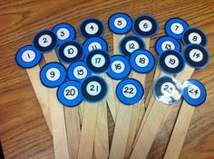 New student number sticks in turquoise and black! I use these daily for calling on students, picking monitors, random grouping etc.